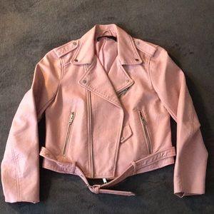 Zara basic pink faux leather moto jacket Sz M